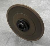 PART # TT-0823, Poly Bond Grinding Wheel 7″ x 1/4″ x 1-1/4″, 320 Grit 10° w/ hub D&B